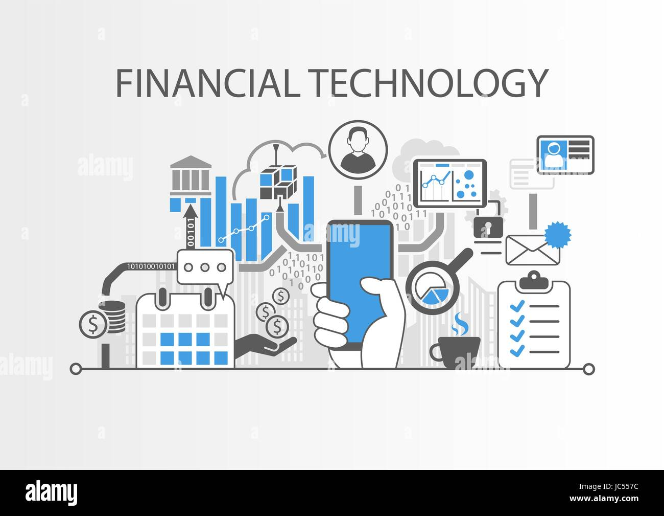 Financial Technology / Fin-Tech concept vector background with hand holding smartphone - Stock Vector