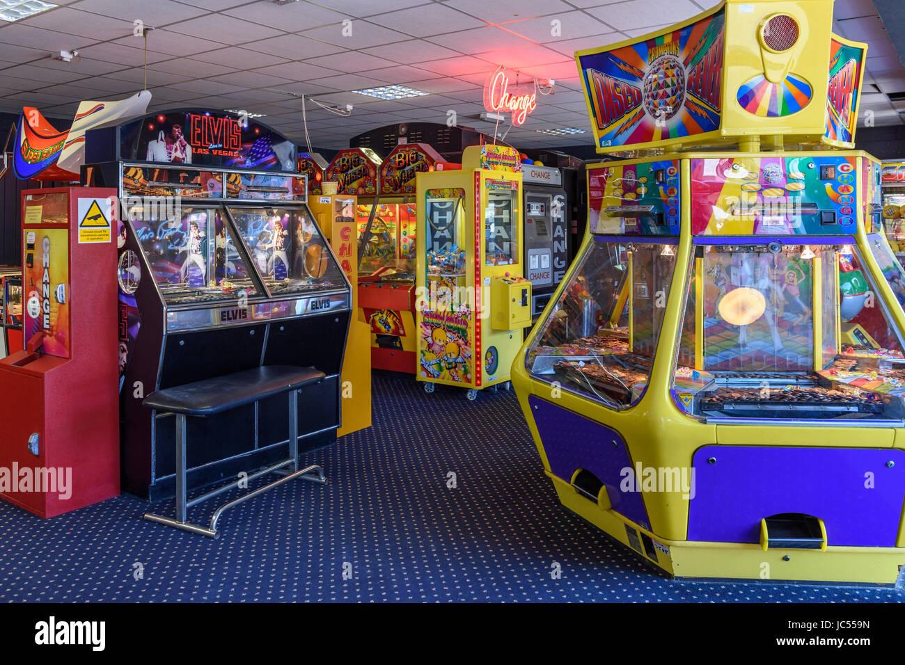 Arcade games, Needles Landmark Attraction, Isle of Wight, UK - Stock Image