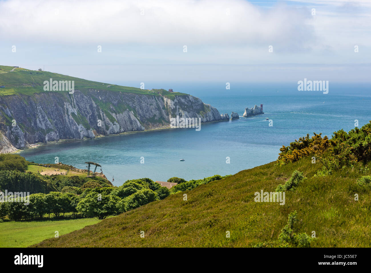 Needles view from Headon Warren, Isle of Wight, UK - Stock Image