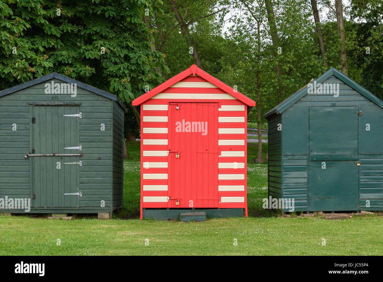 Beach huts, Appley Park, Ryde Beach, Isle of Wight, UK - Stock Image