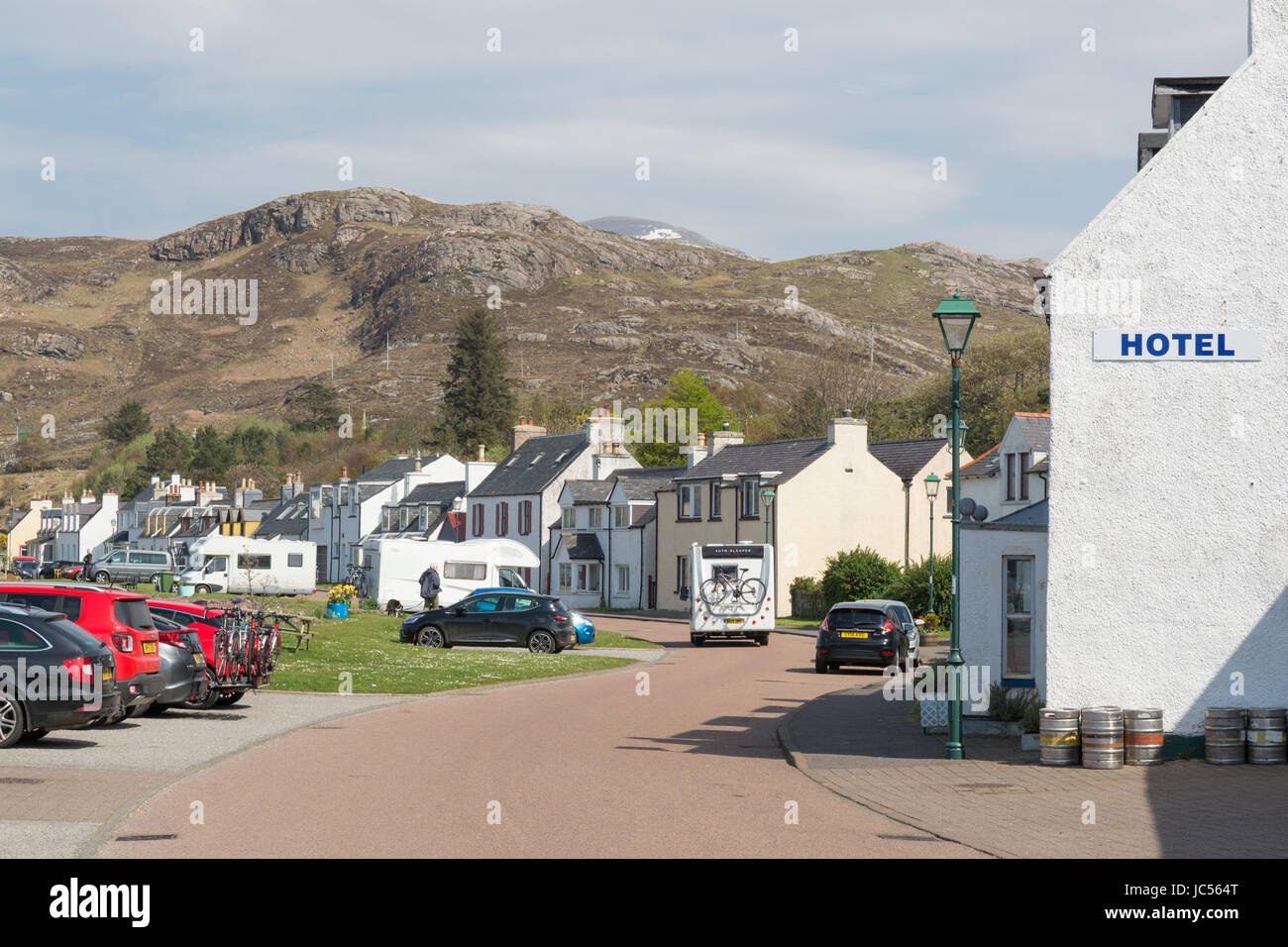 Shieldaig village on the North Coast 500 route, Wester Ross, Scotland, UK - Stock Image