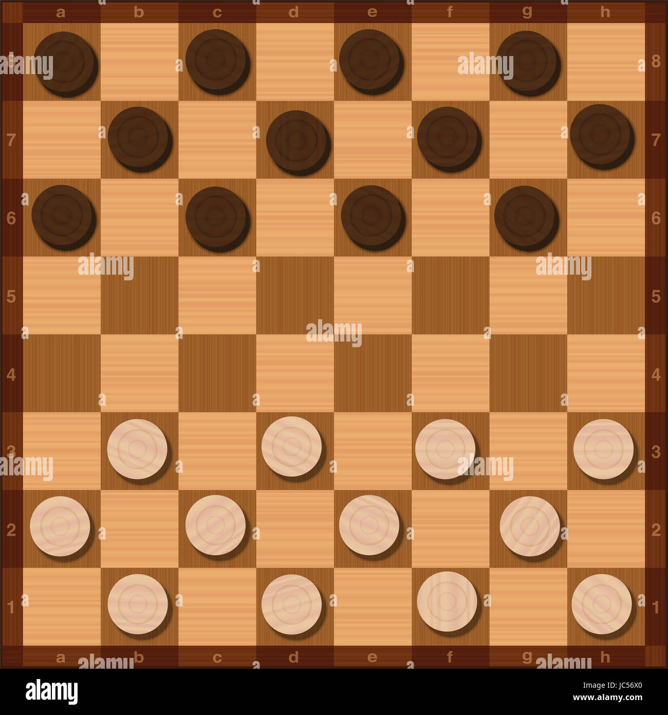 Draughts game, starting position of the twenty-four tokens, top view, wood grain style. - Stock Image