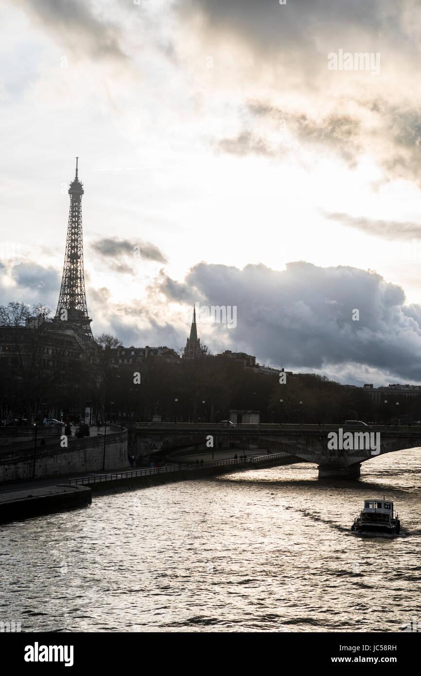 torre Eiffel al tramonto - Stock Image