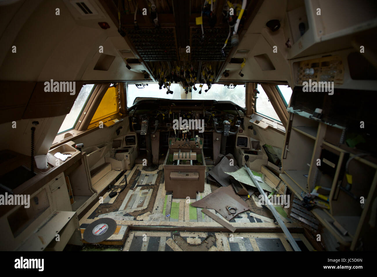 Where passenger aircraft go to die. Inside the flight deck of a retired aircraft after it has been stripped by Air Stock Photo