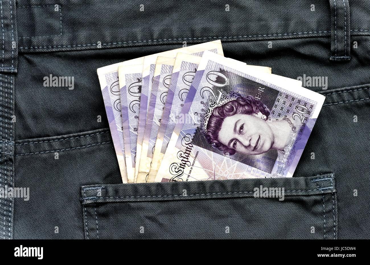 20 pound notes - Stock Image