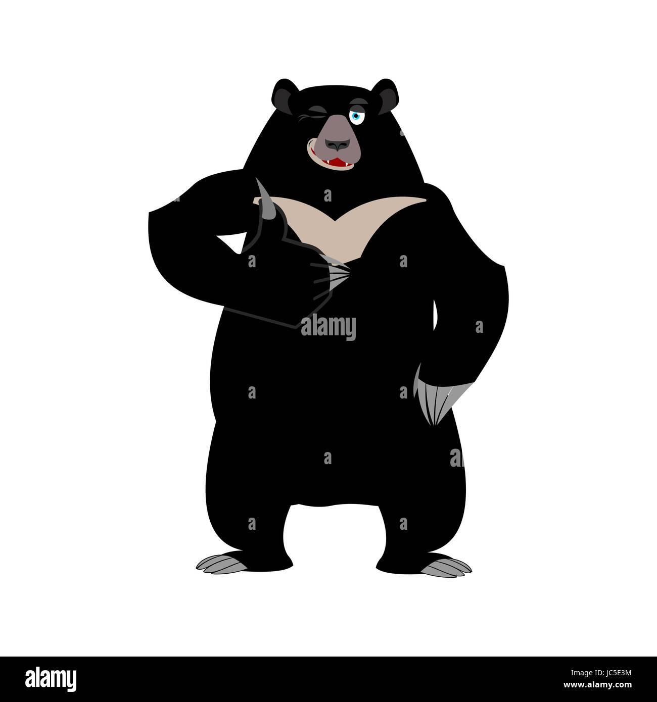 Himalayan bear thumbs up and winks. Cheerful wild animal emoji. Black big beast - Stock Vector