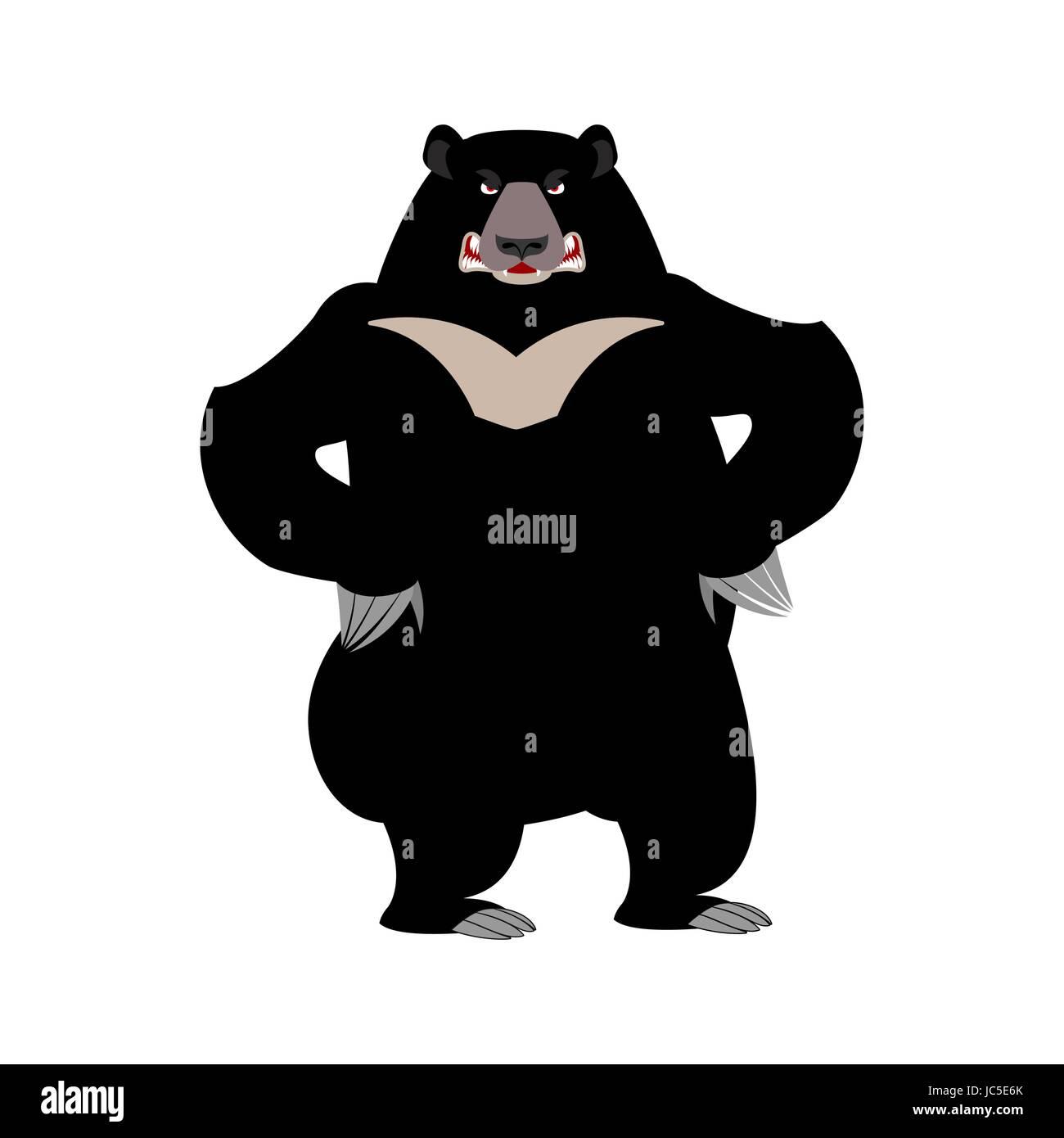Himalayan bear angry emotion. aggressive wild animal emoji. Black big beast - Stock Vector