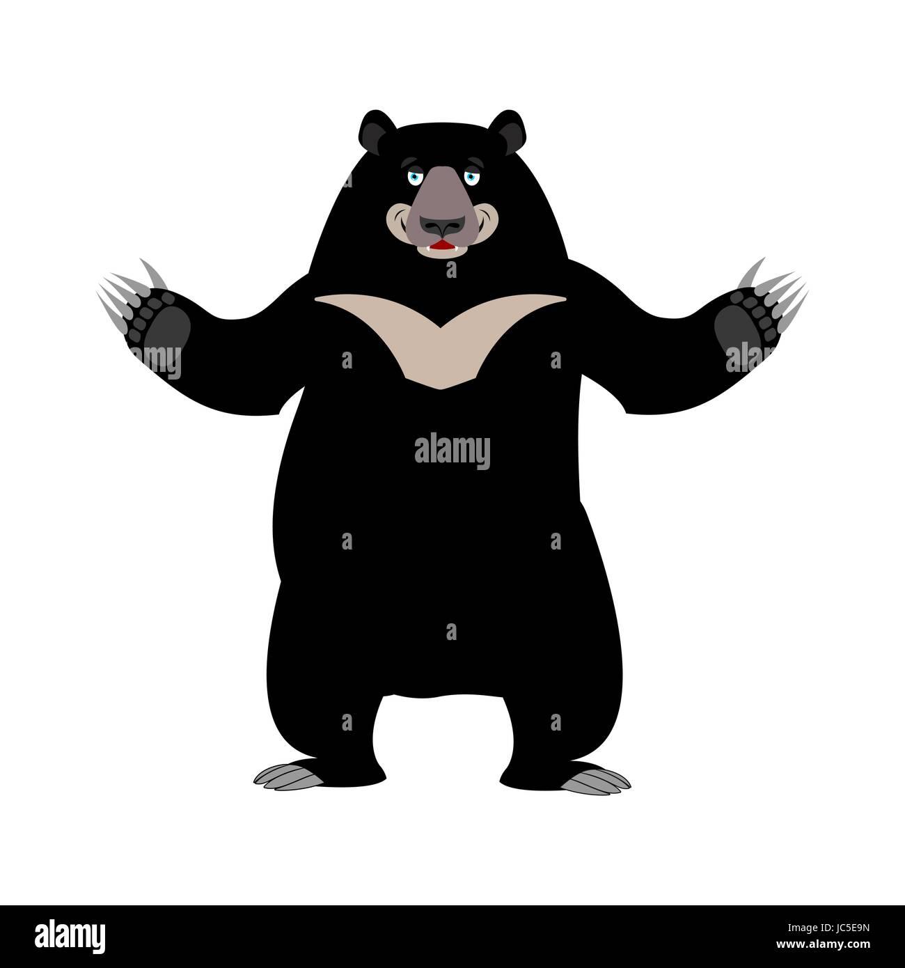 Himalayan bear happy emotion. Merry wild animal emoji. Black big beast - Stock Vector