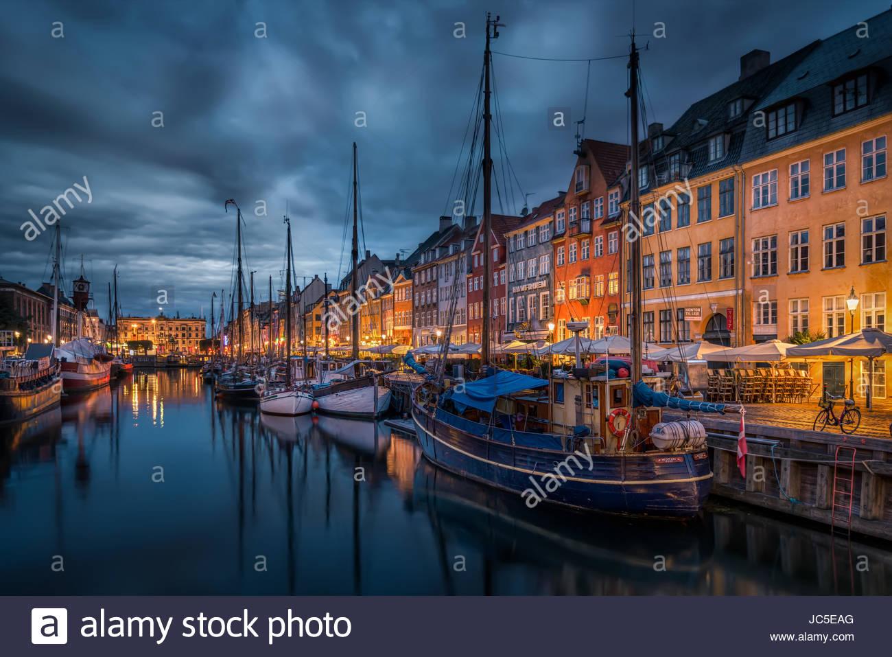 Nyhavn in Copenhagen - Stock Image