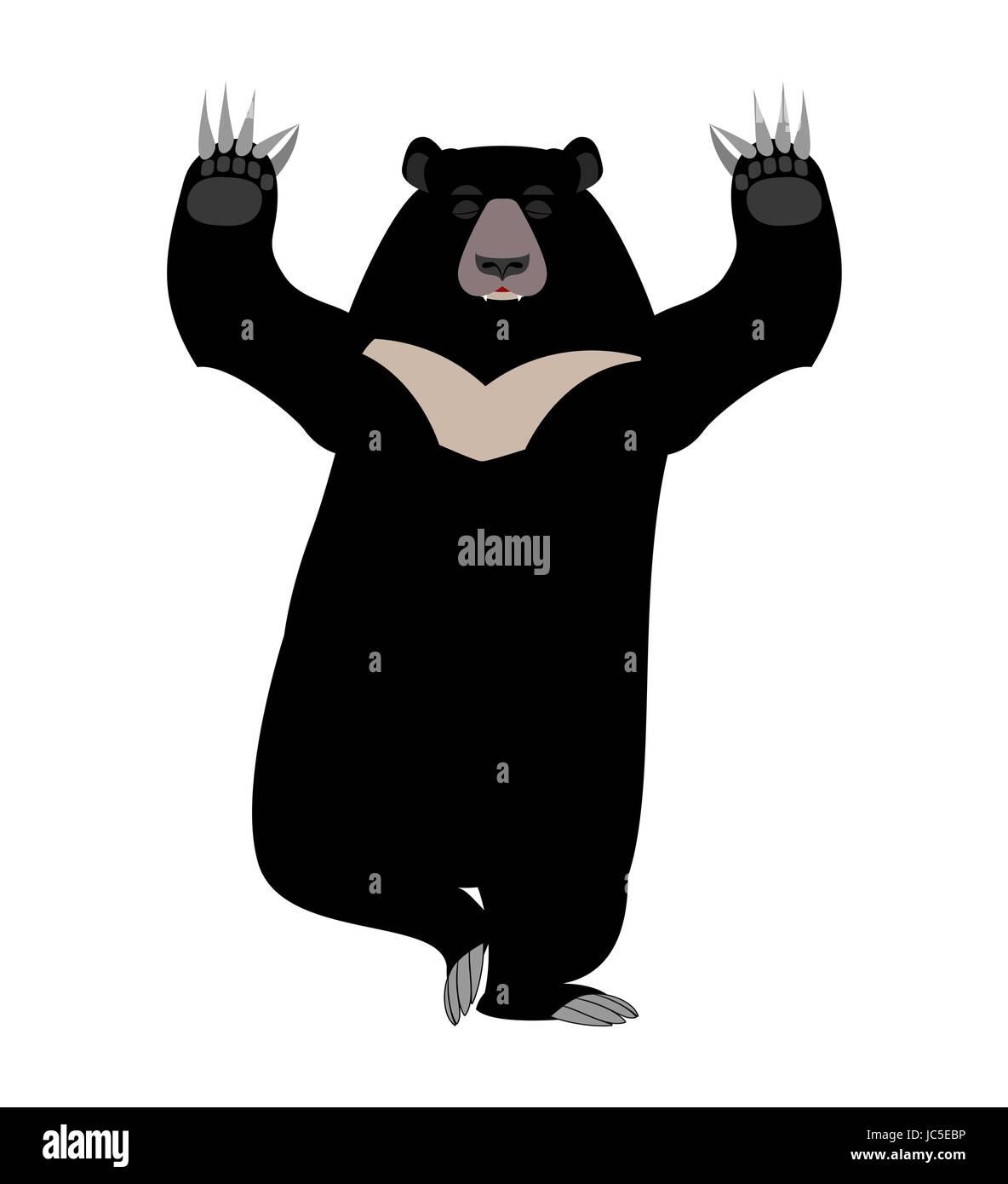 Himalayan bear Yoga. yogi wild animal emoji. Black big beast - Stock Vector