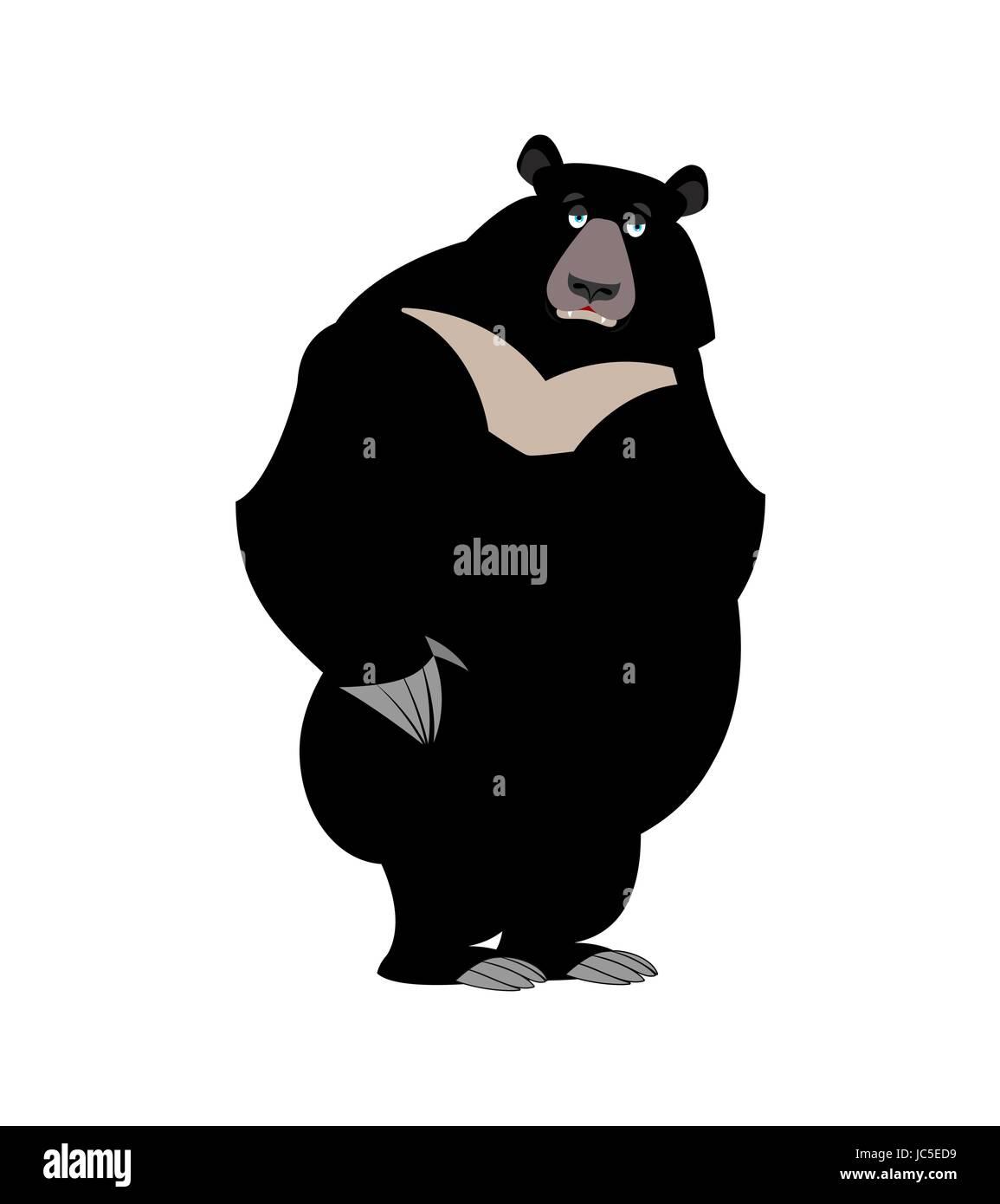 Himalayan bear sad emotion. sorrowful wild animal emoji. Black big beast - Stock Vector