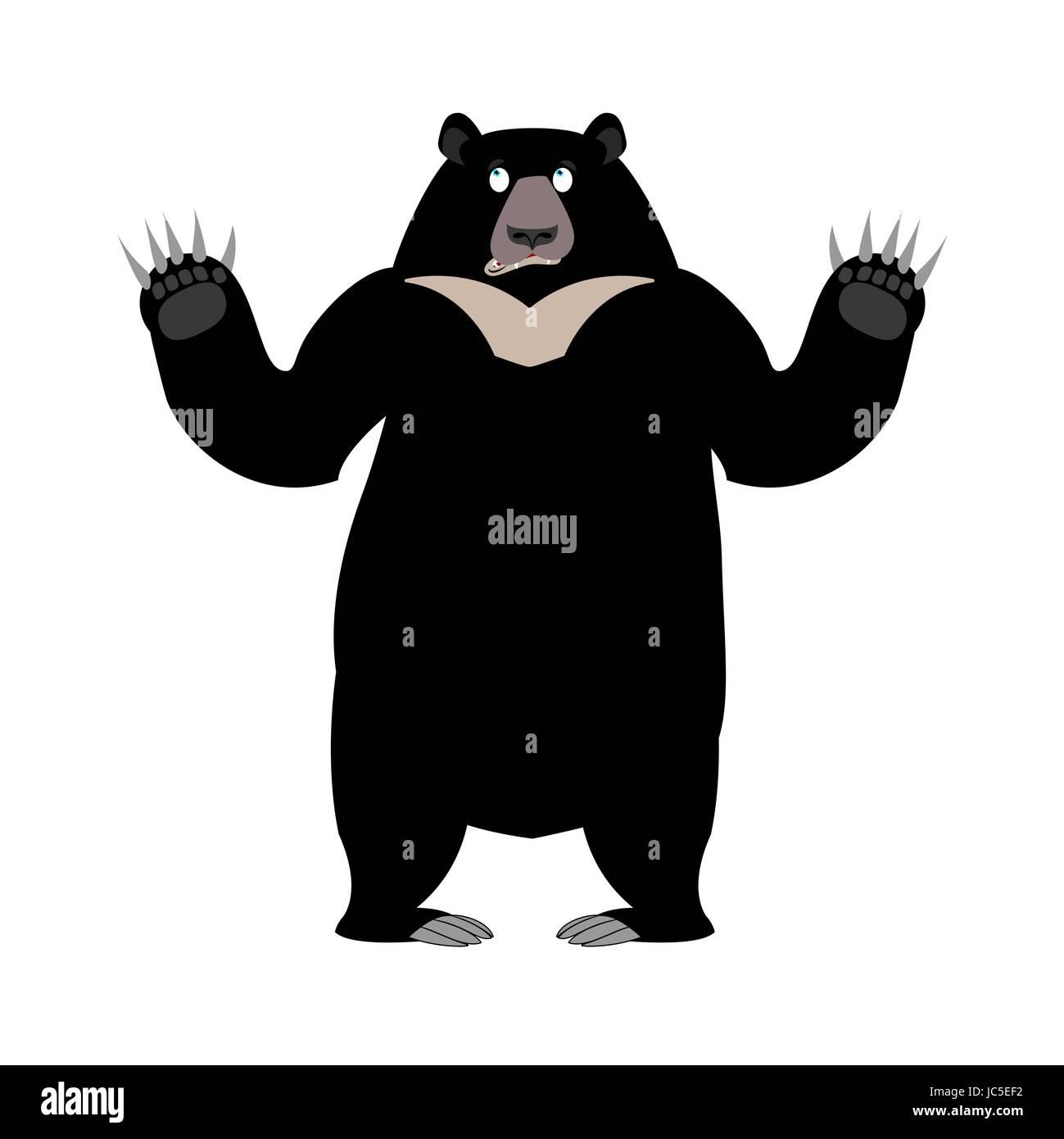 Himalayan bear Surprise emotion. wonderl wild animal emoji. Black big beast - Stock Vector