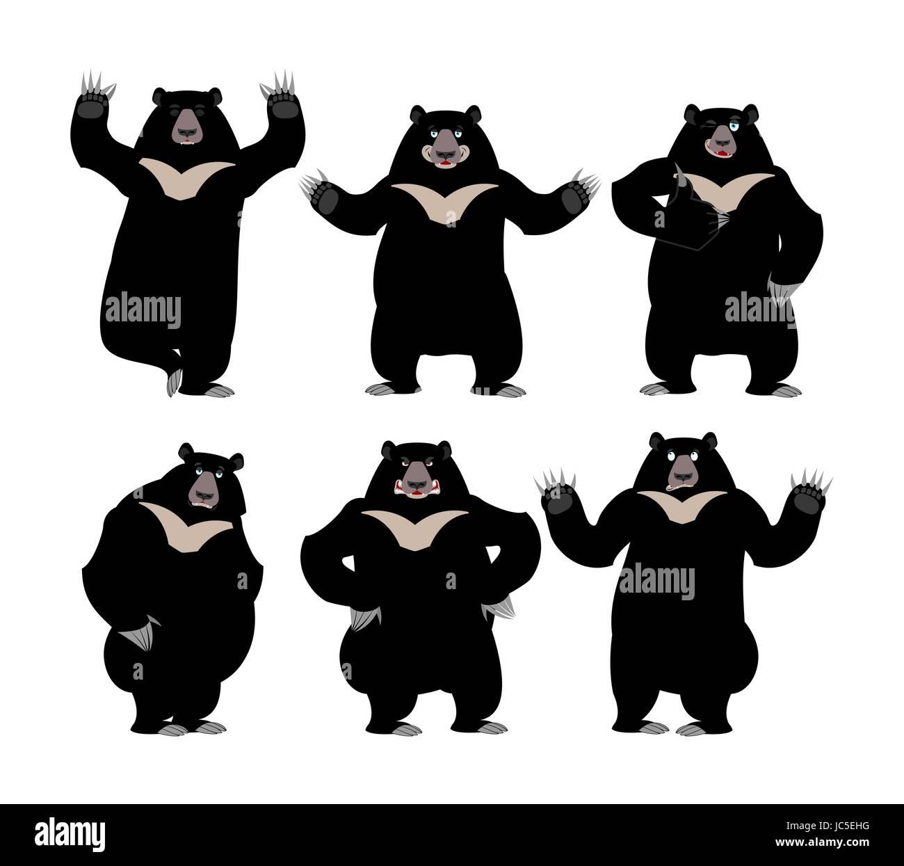 Himalayan bear set Emotion and posture. Cheerful and angry wild animal emoji. Sad Black big beast. Yoga and Surprise - Stock Vector