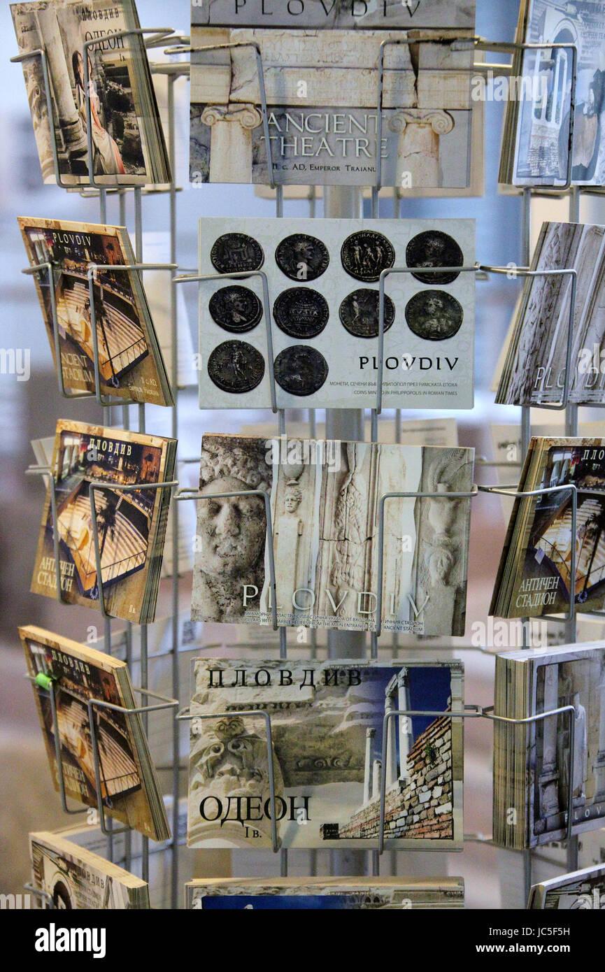 Postcards for sale in Plovdiv - Stock Image
