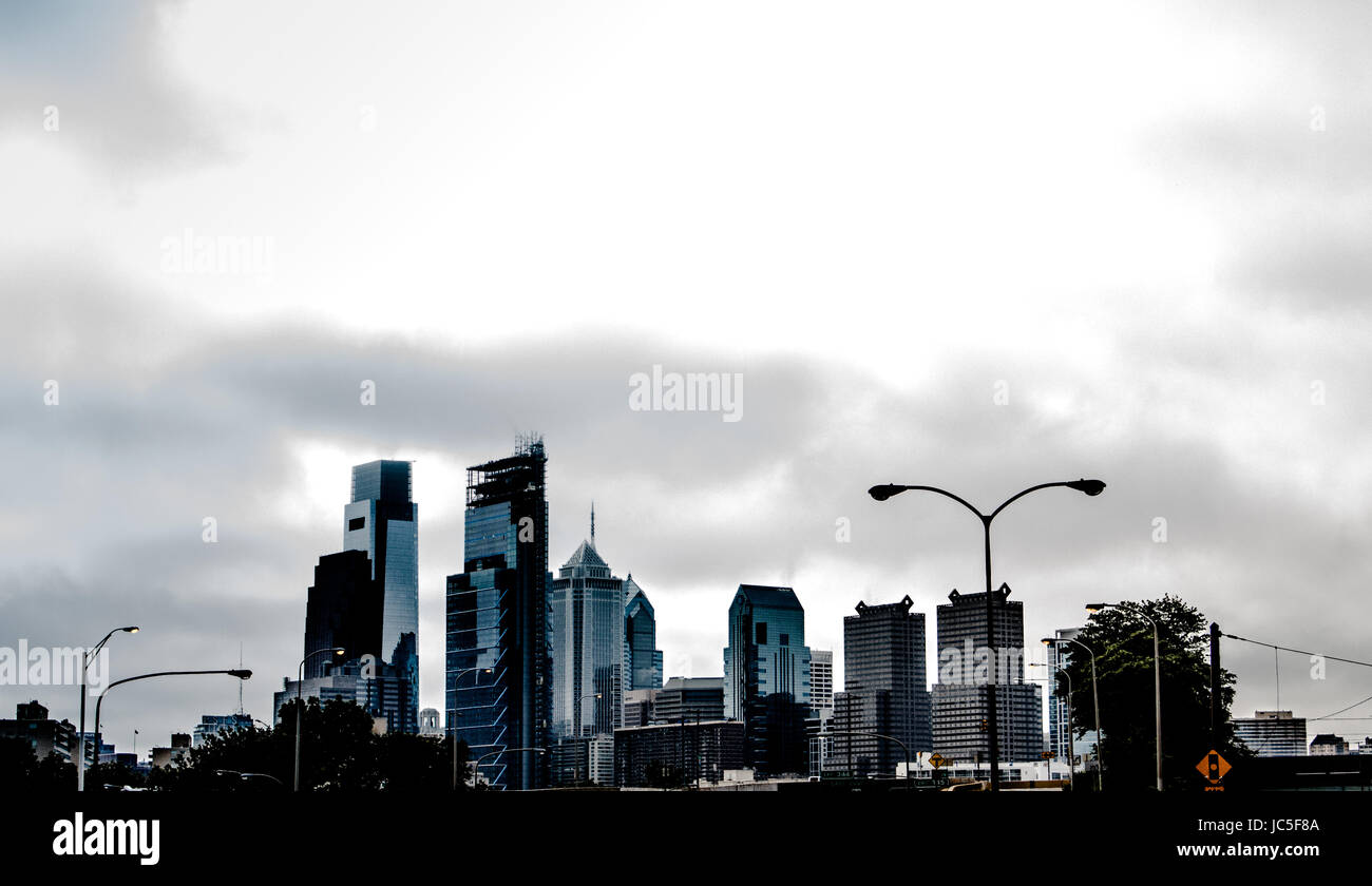 Philadelphia Skyline from 76 - Stock Image
