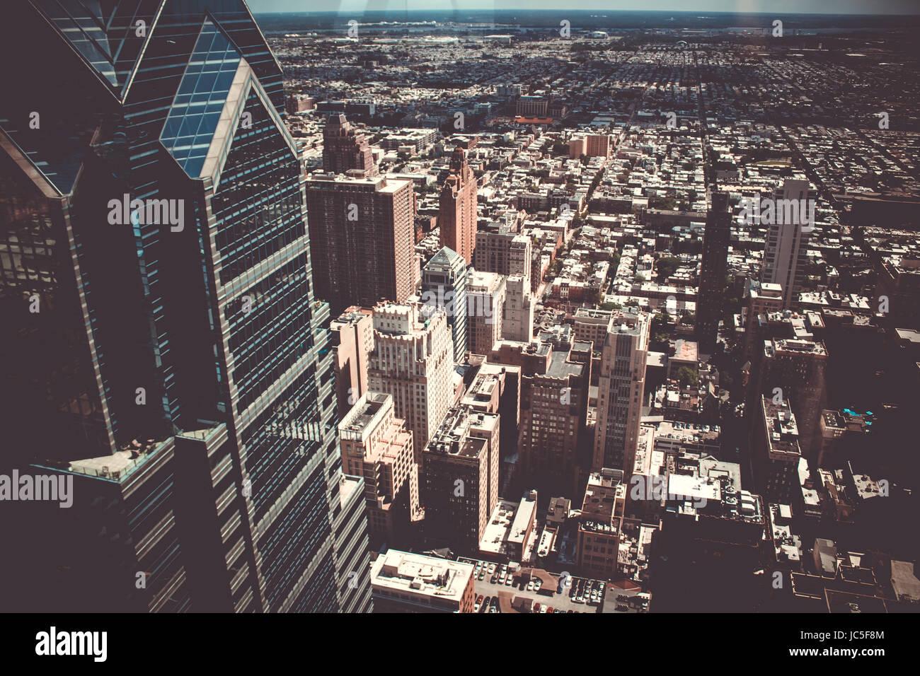 Philadelphia Skyline from the Observation Deck in Philadelphia - Stock Image