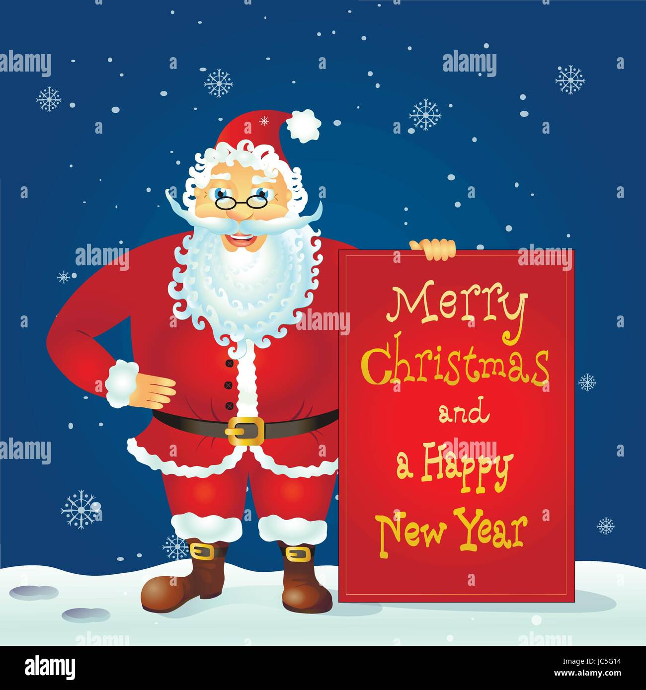 Santa Claus Standing With Christmas Greetings Banner In Arm Vector