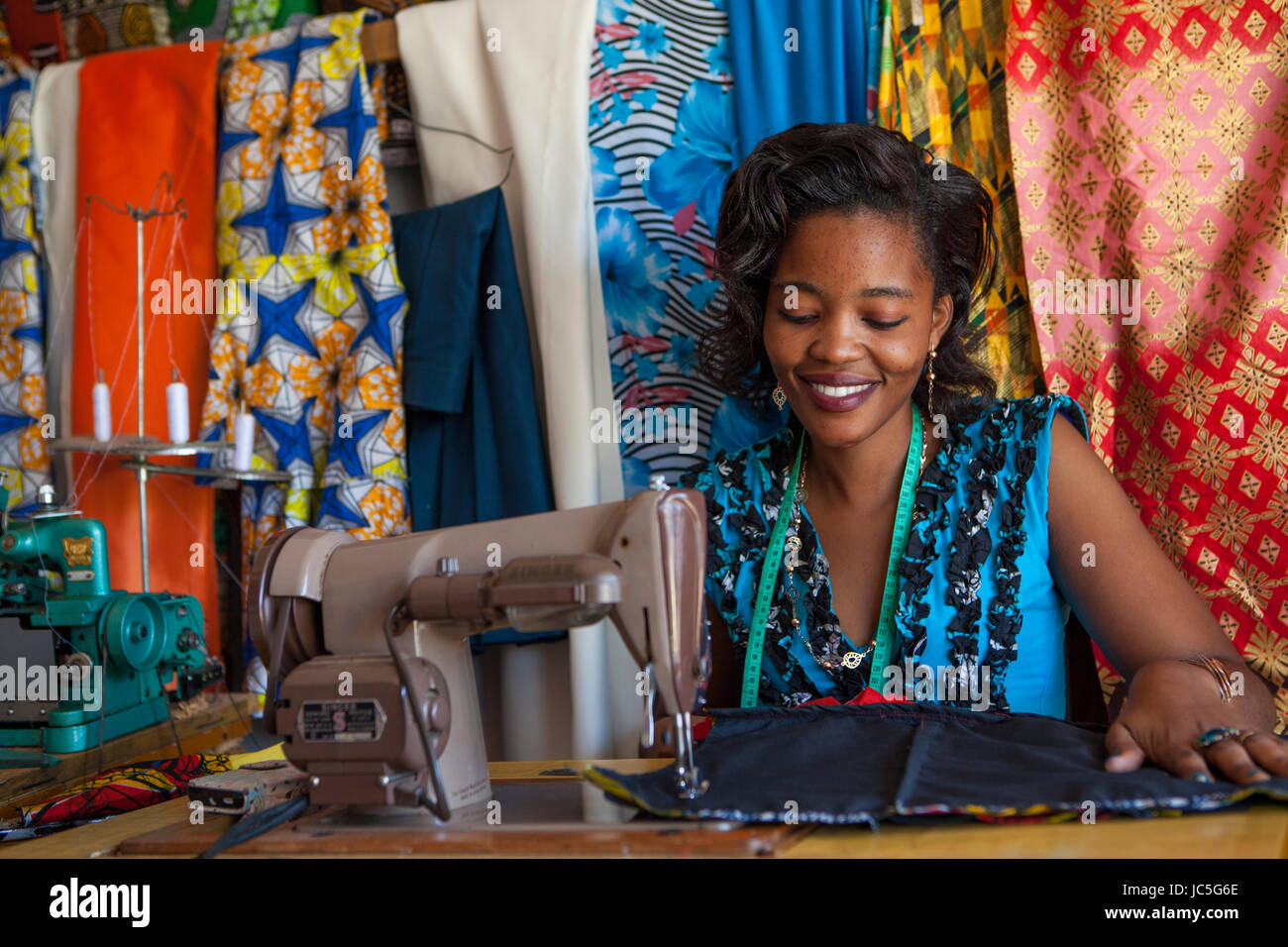 Female tailor, Tanzania, Africa - Stock Image