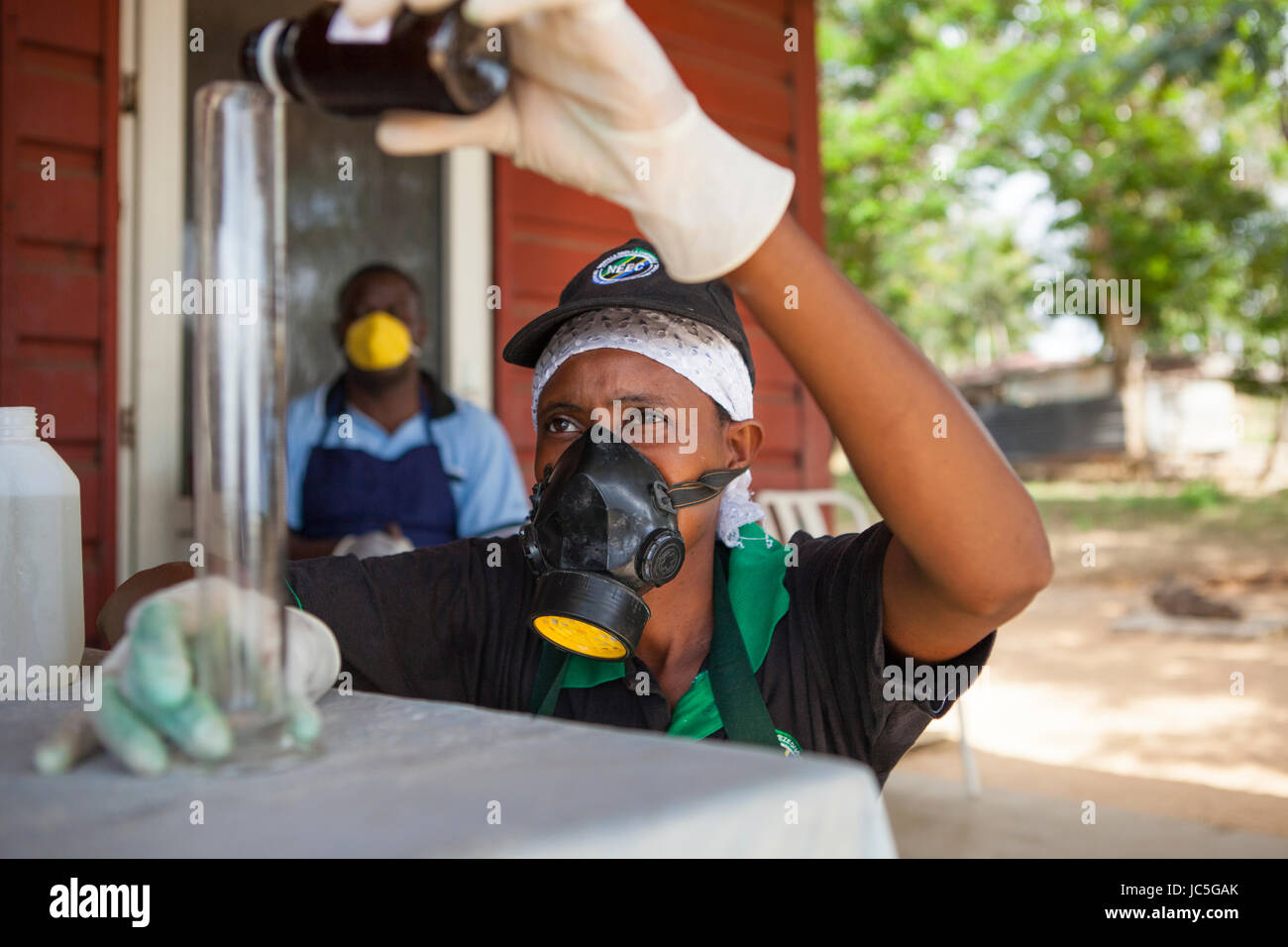 Female small business owner, making cleaning products, Tanzania, Africa - Stock Image