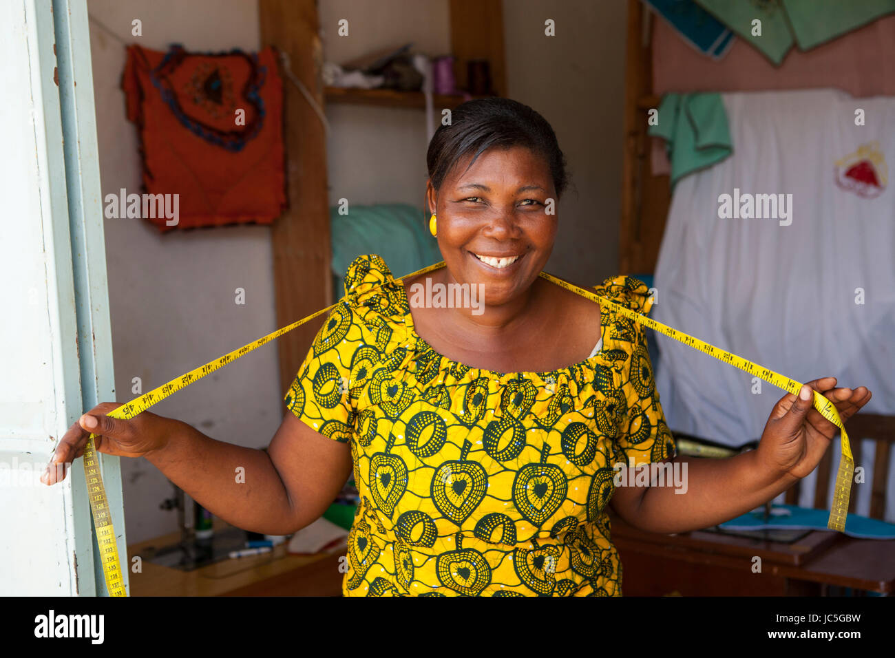 Female tailor in her shop, Tanzania, Africa. - Stock Image