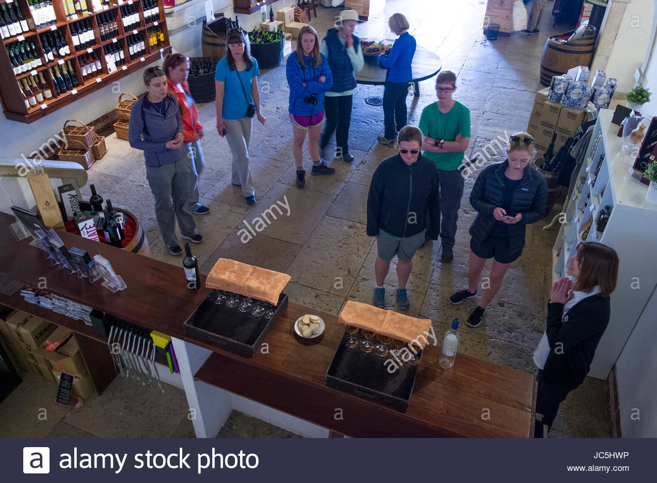 Group of tourist in the tasting room at José Maria Da Fonseca Wines House Museum, Azeitão, - Stock Image