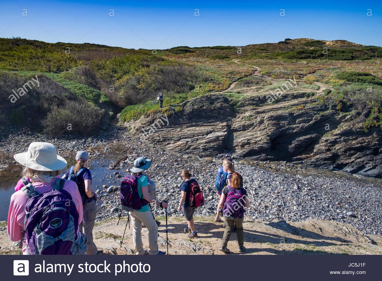 Members of the REI Adventures Portugal coastal hiking tour on the Rota Vicentina Fishermen's Trail, Southwest - Stock Image
