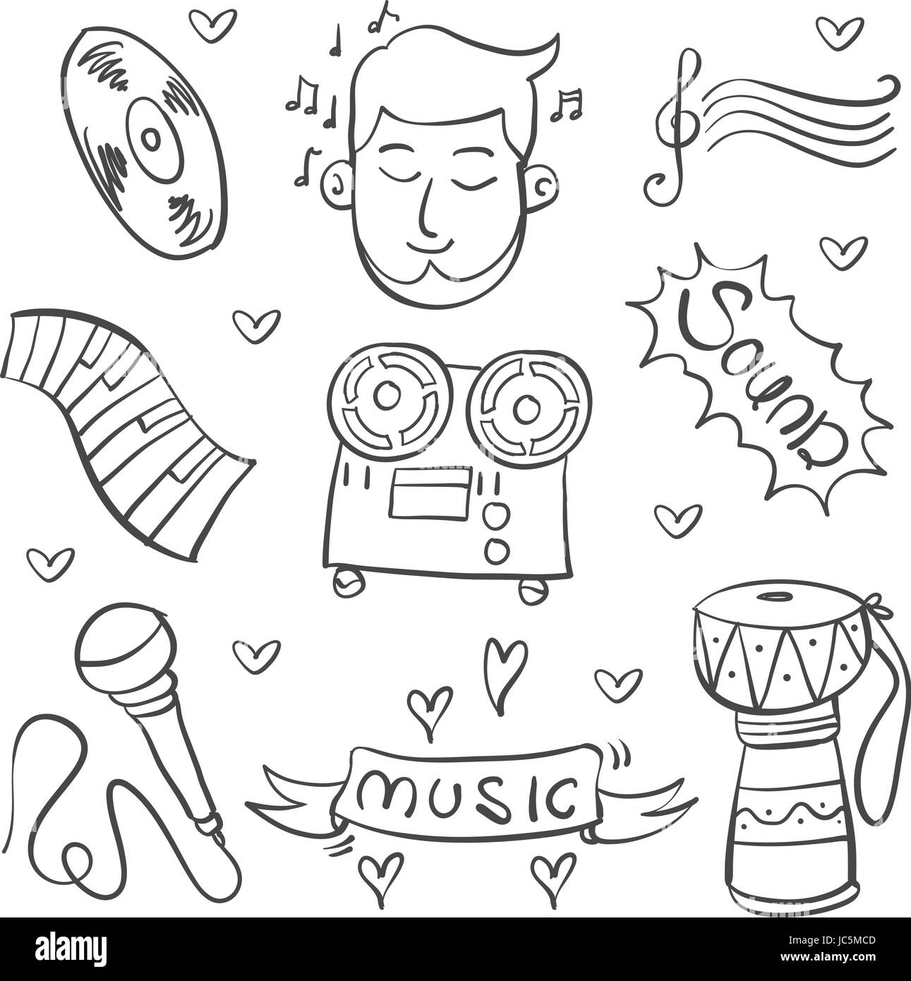 disco cut out stock images pictures page 2 alamy Online Party Invitations doodle of music various vector illustration stock image