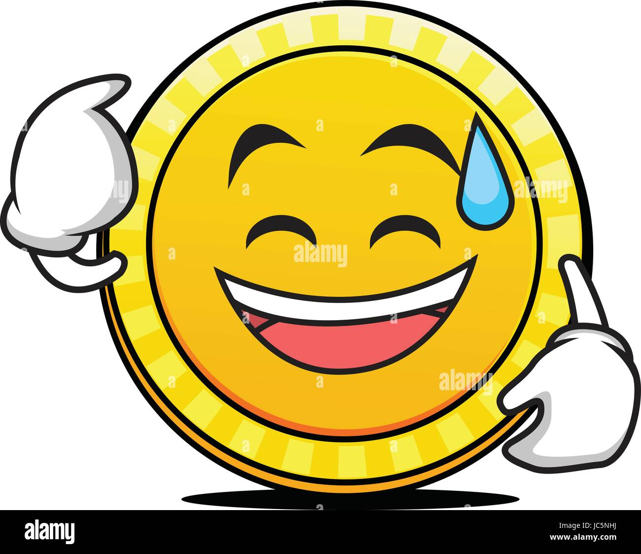 Sweat smile coin cartoon character - Stock Vector