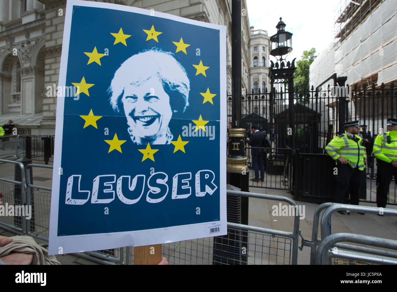 Anti Theresa May placard, depicting the Prime Minister of Great Britain against the forthcoming EU Brexit negotiations Stock Photo