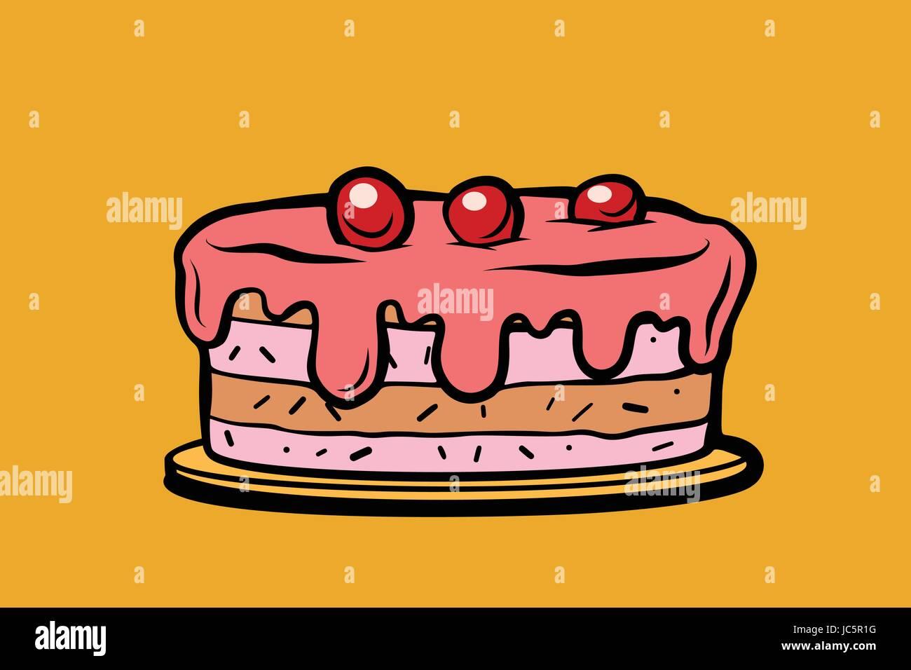 cherry berry cake  Comic cartoon style pop art retro vector