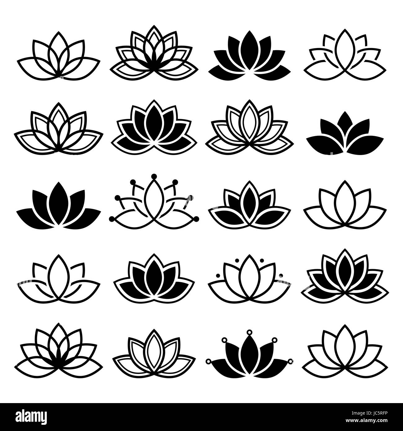 Lotus flower design set yoga vector abstract collection stock lotus flower design set yoga vector abstract collection izmirmasajfo