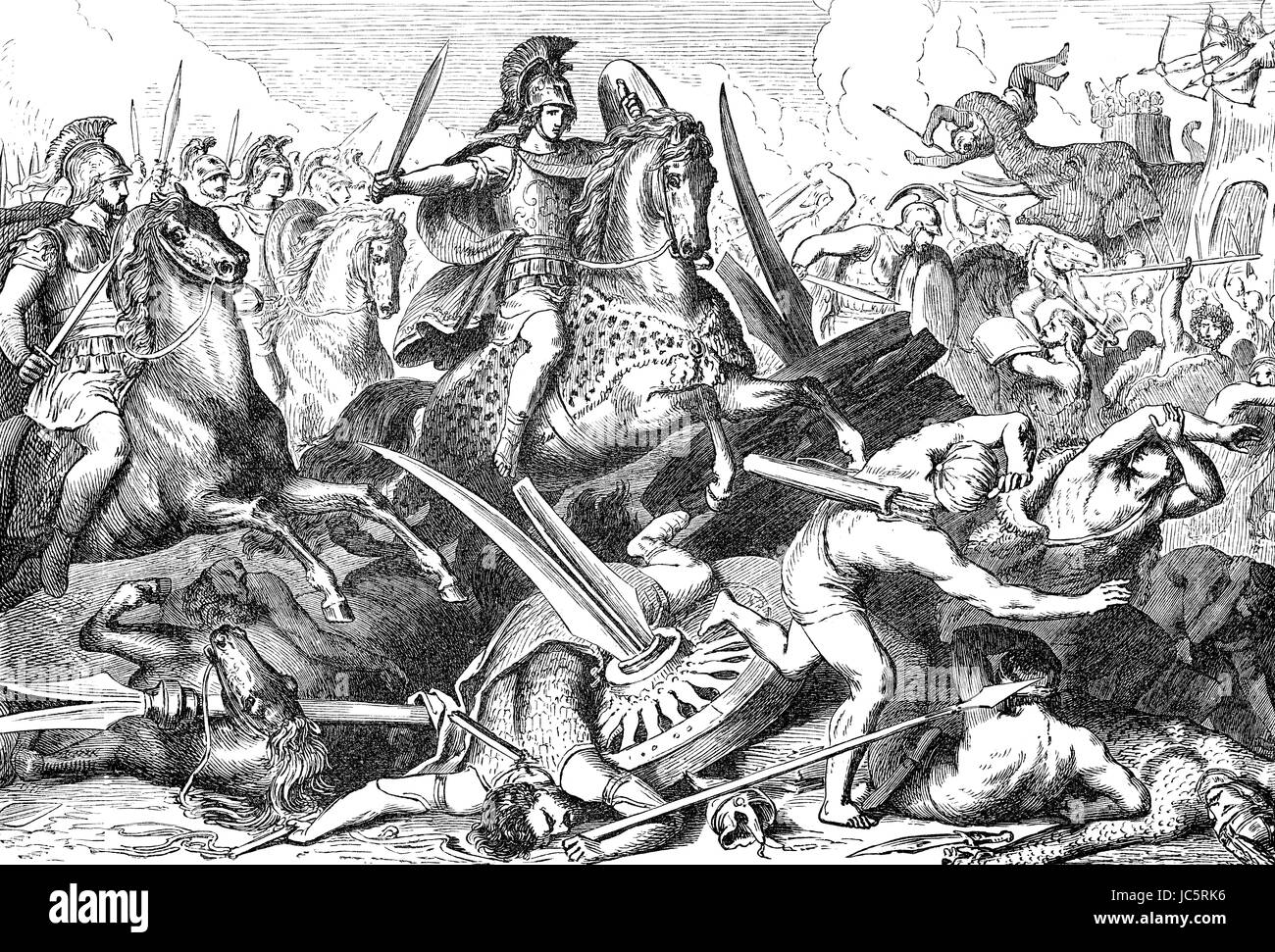 Alexander the Great at Battle of Gaugamela in 331 BC - Stock Image