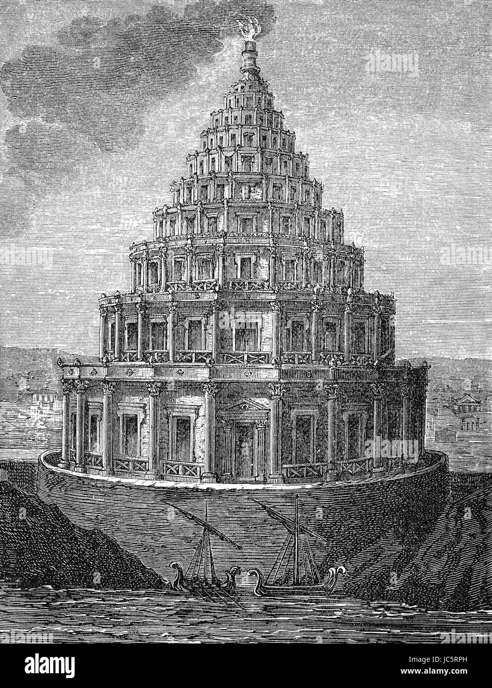 The Lighthouse of Alexandria, or the Pharos of Alexandria - Stock Image