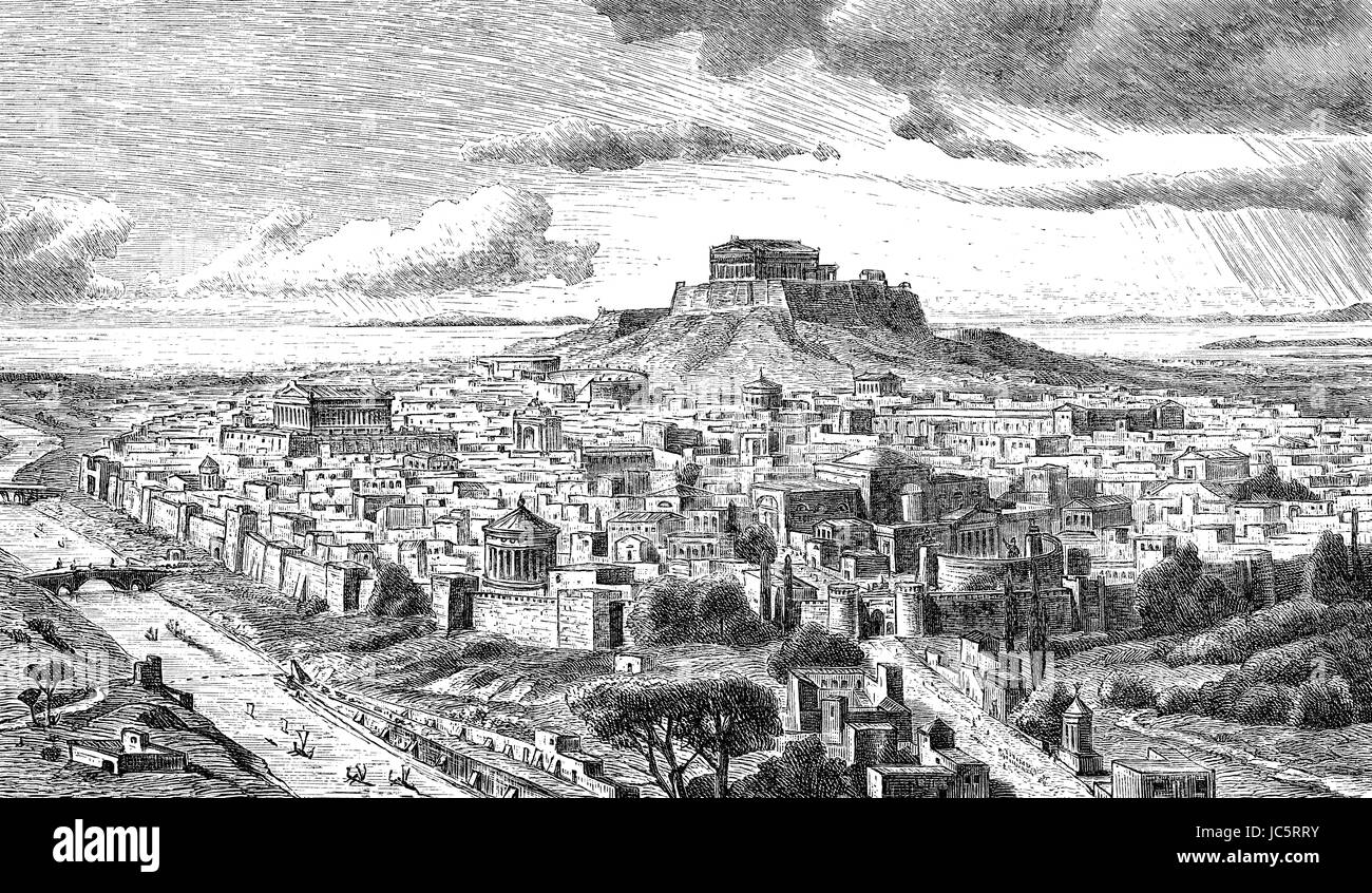 Panorama of Athens, ancient Greece - Stock Image