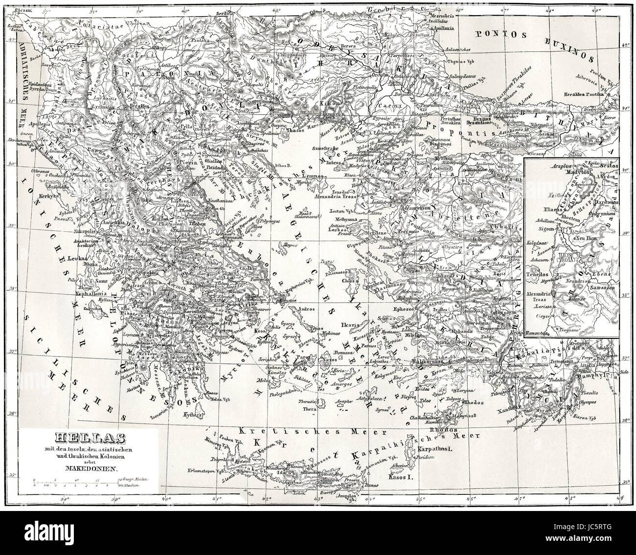Historical map of ancient Greece with Asian and Thracian Colonies - Stock Image