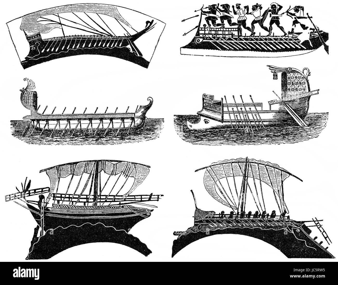 Types of Roman and Greek ships in Ancient times - Stock Image