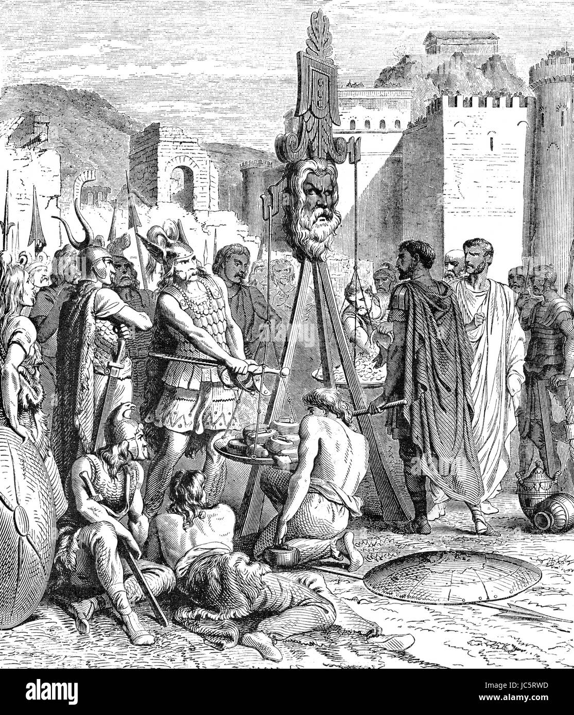 Brennus or Brennos and his Share of the spoils after the Battle of the Allia, ancient Rome - Stock Image