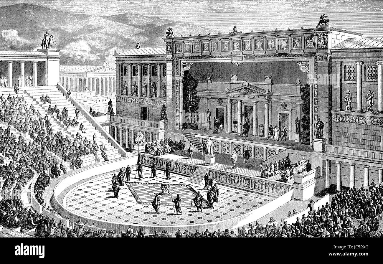 Reconstruction of the Theatre of Dionysus in ancient Athens, Greece Stock Photo