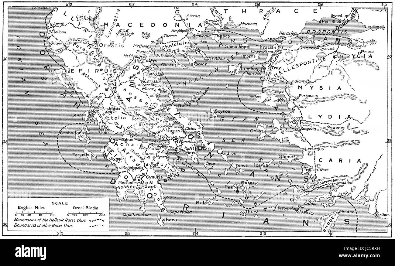 Historical map with Hellenistic races in ancient Greece - Stock Image