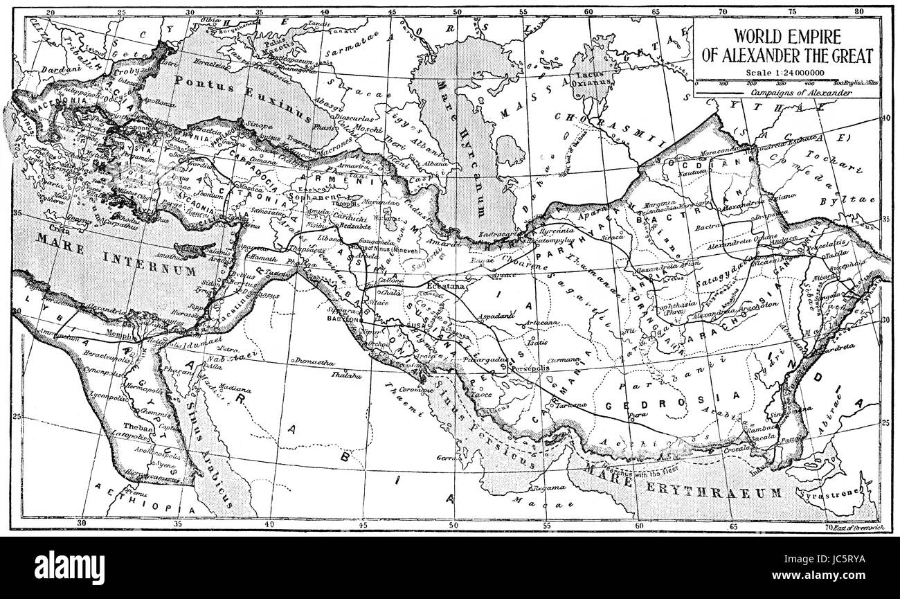 Historical map of the world empire of Alexander the Great - Stock Image