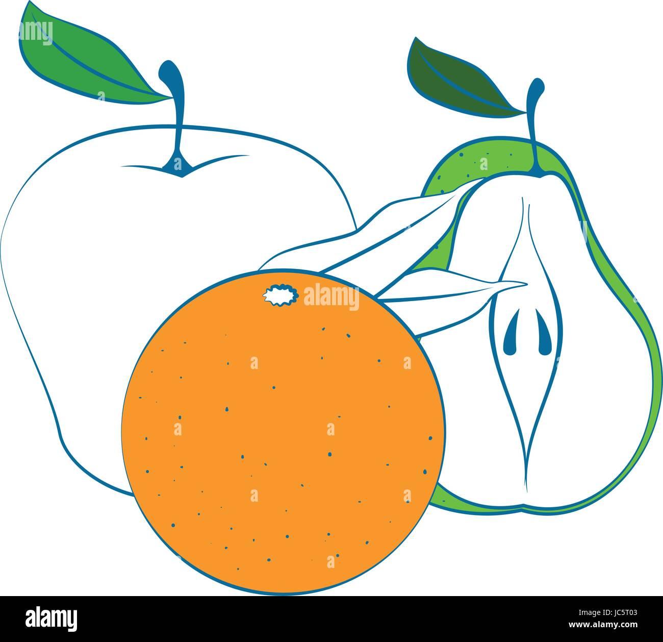 Set of fruits - Stock Image