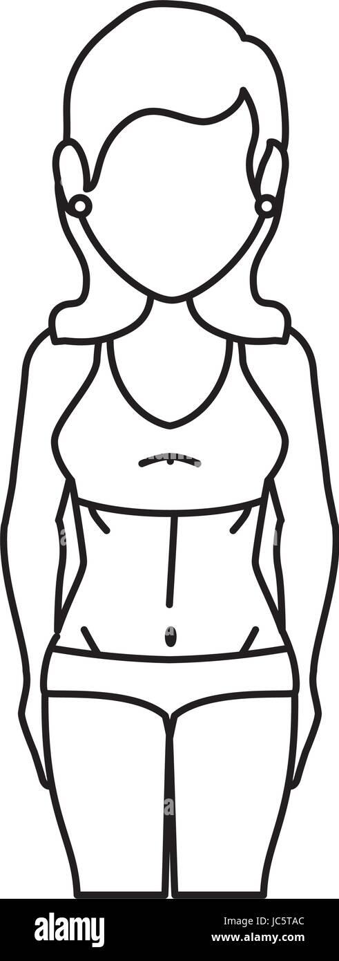 woman with swimwear icon - Stock Vector