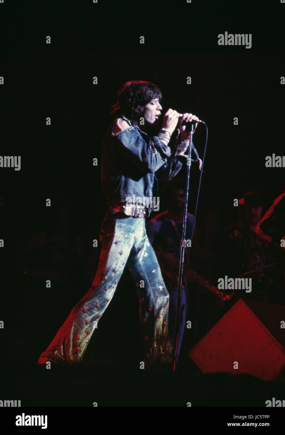 mick jagger during a concert from the rolling stones american tour stock photo 145188030 alamy. Black Bedroom Furniture Sets. Home Design Ideas