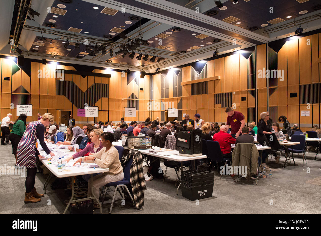 Counting taking part at the ICC in Birmingham for the General Election 2017 - Stock Image