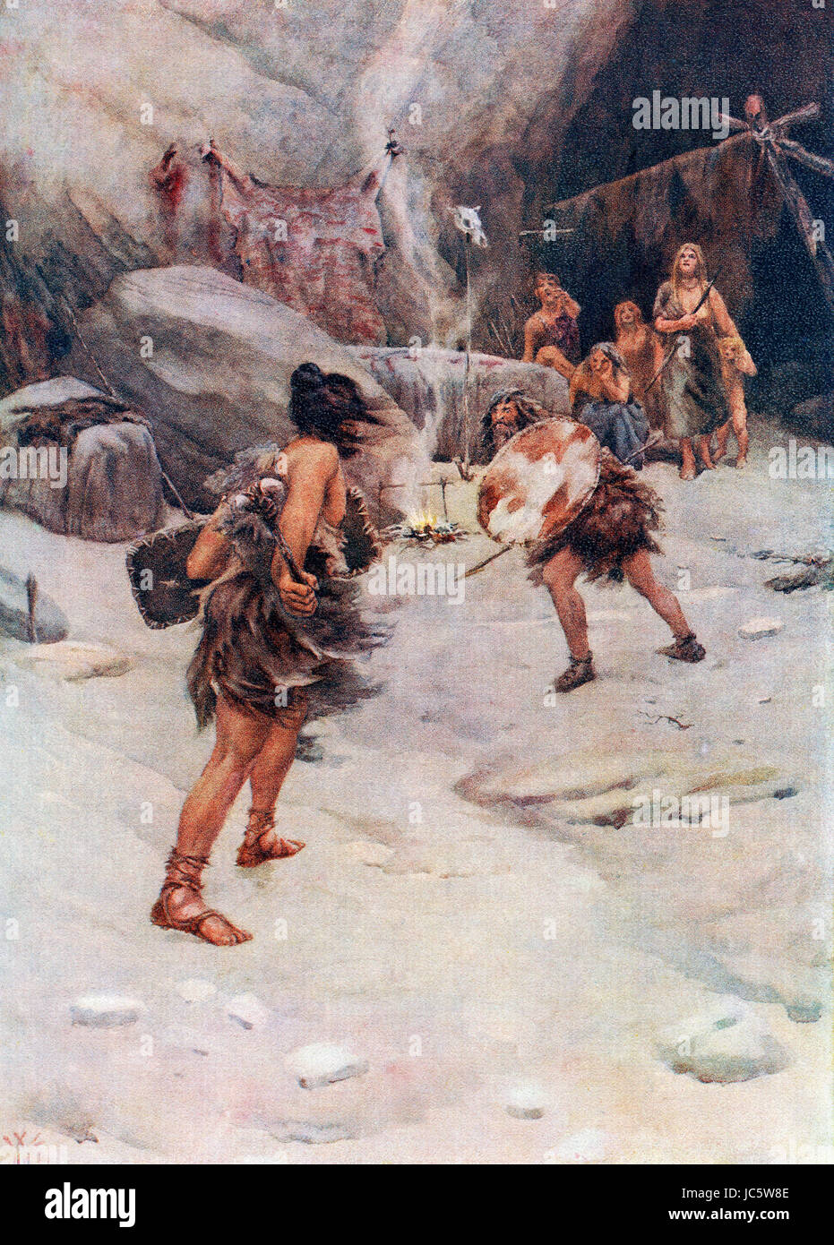 Prehistoric man.  After the painting by William Wiehe Collins (1862 –1951).  From Hutchinson's History of the - Stock Image