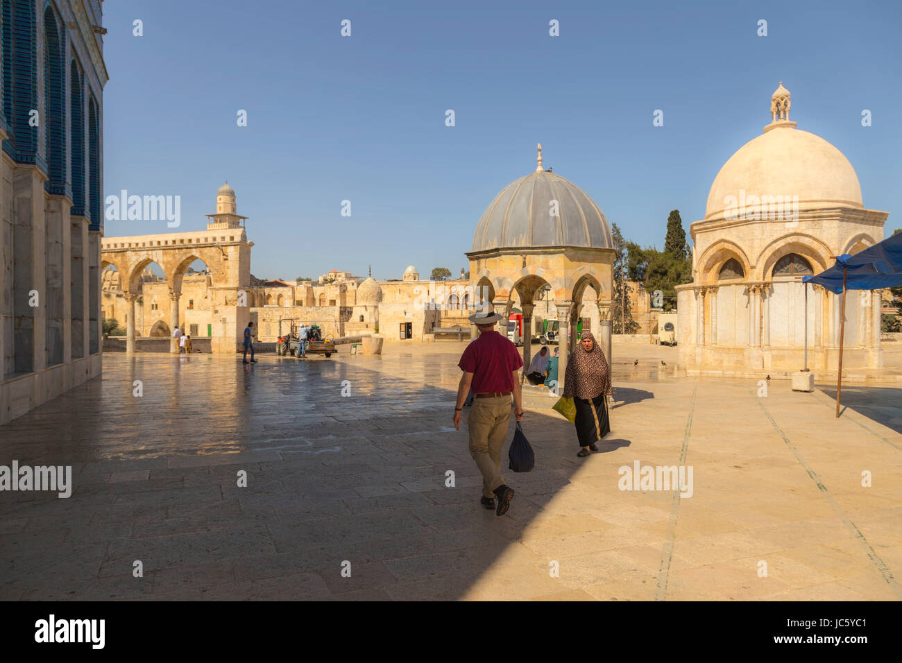 Dome of the Rock and dome-shaped buildings on Temple Mount,  Mount Moriah, Old City of Jerusalem, a UNESCO World - Stock Image