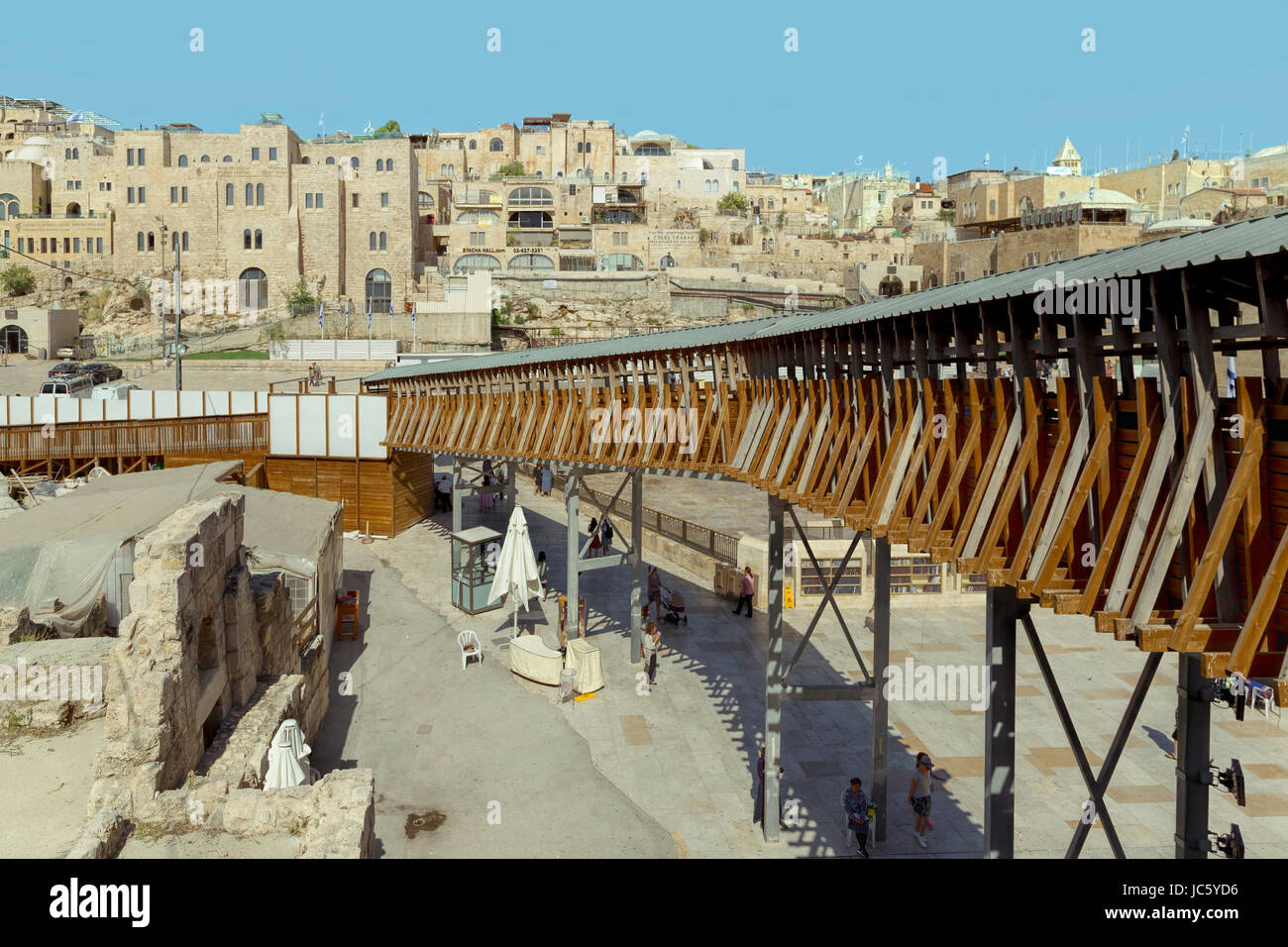 Elevated walkway at the Wailing Wall & Western Wall Plaza and giving access to Temple Mount and the Dome of - Stock Image