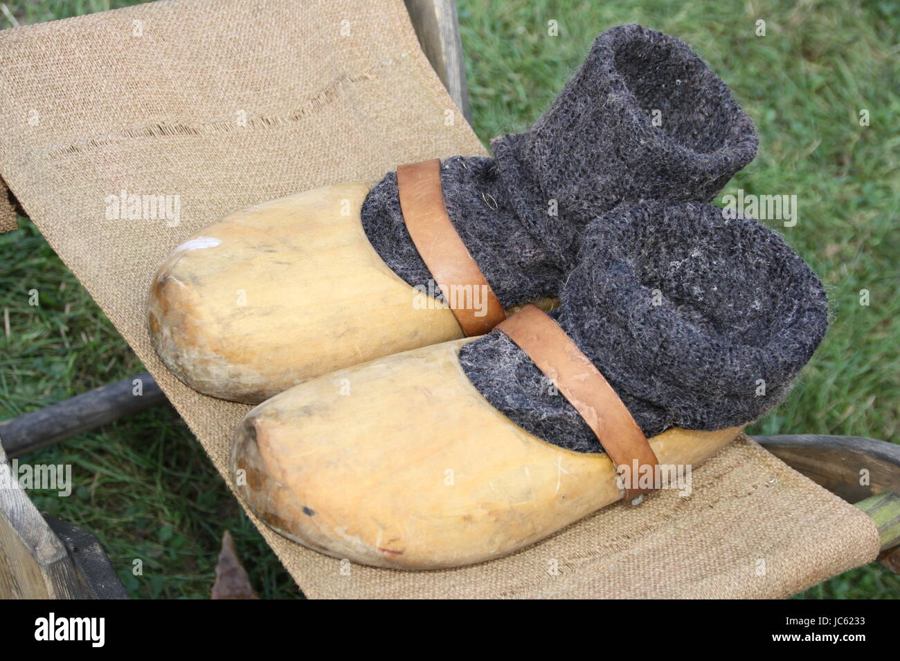 holzschuh with stocking Stock Photo