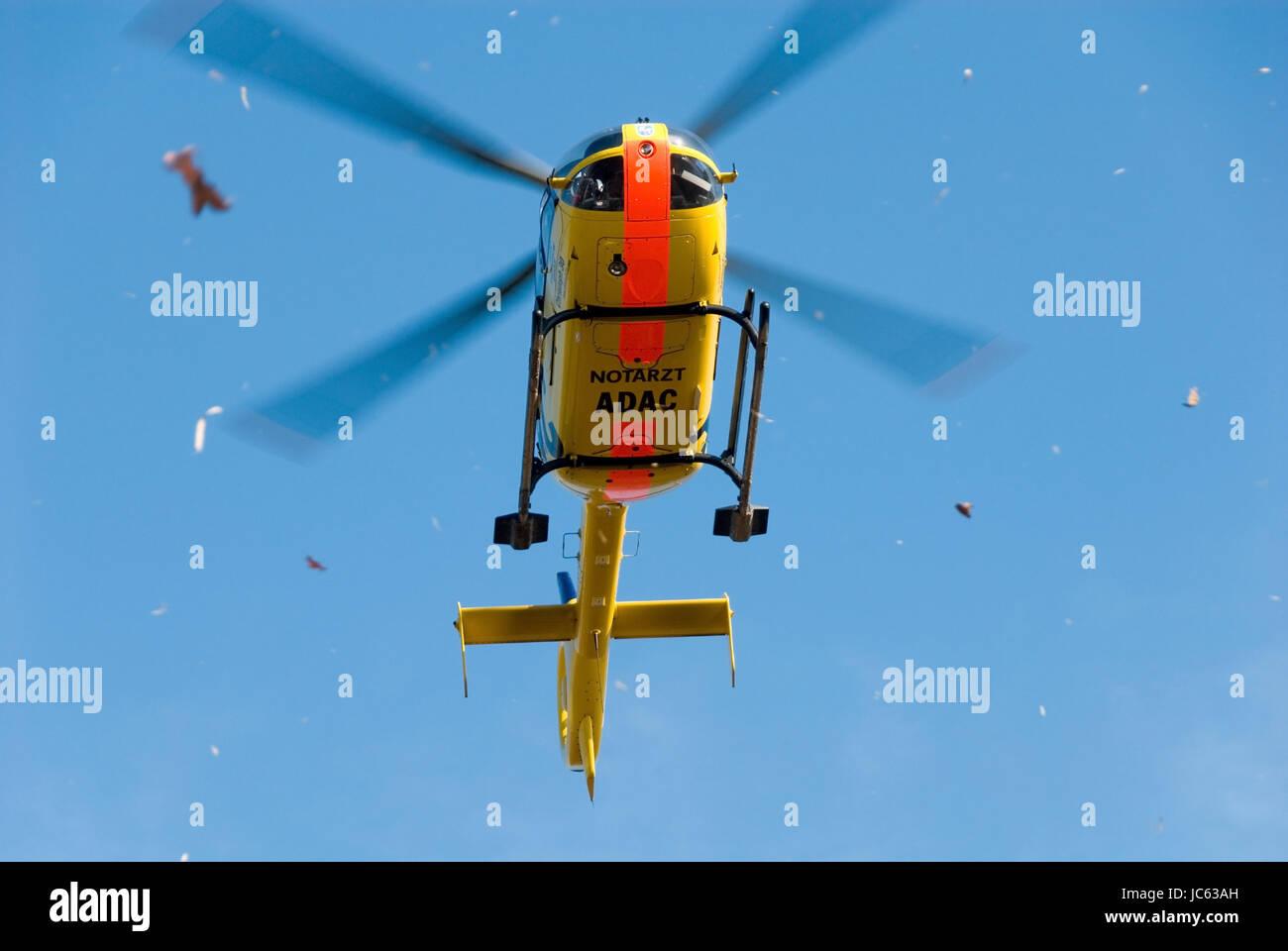 Germany, Lower Saxony, circle of Peine, Ilsede, helicopter, whirling foliage, Deutschland, Niedersachsen, Kreis - Stock Image
