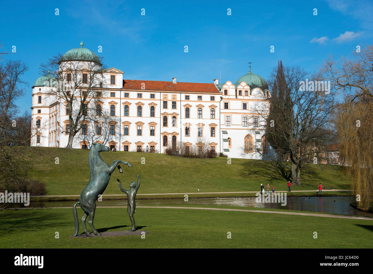 Duke's castle |Herzogschloss, stallion builds in 1292, bronze figure melodious sound in the freedom training, - Stock Image